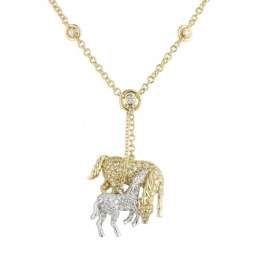 Yellow and White Diamond Horse Pendant